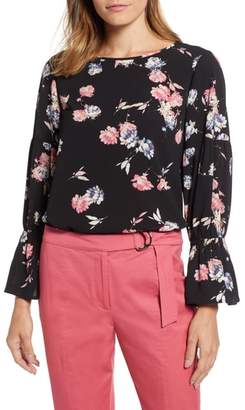 Chaus Smocked Graceful Blooms Bell Sleeve Blouse