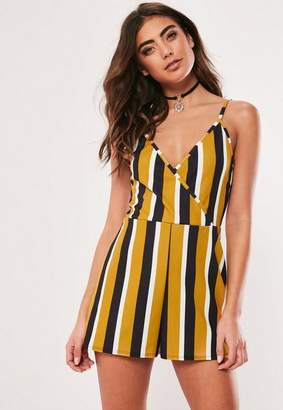 Missguided Mustard Scuba Crepe Wrap Front Cami Playsuit