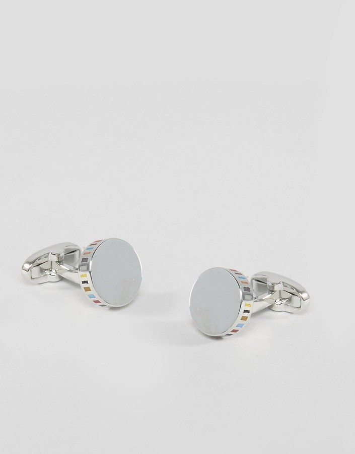 Paul SmithPaul Smith Silver Cufflinks With Stripe Outer
