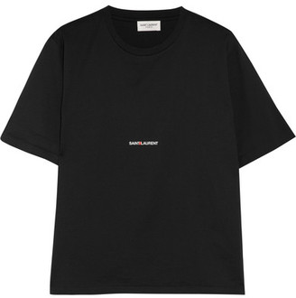 Saint Laurent - Printed Cotton-jersey T-shirt - Black $350 thestylecure.com