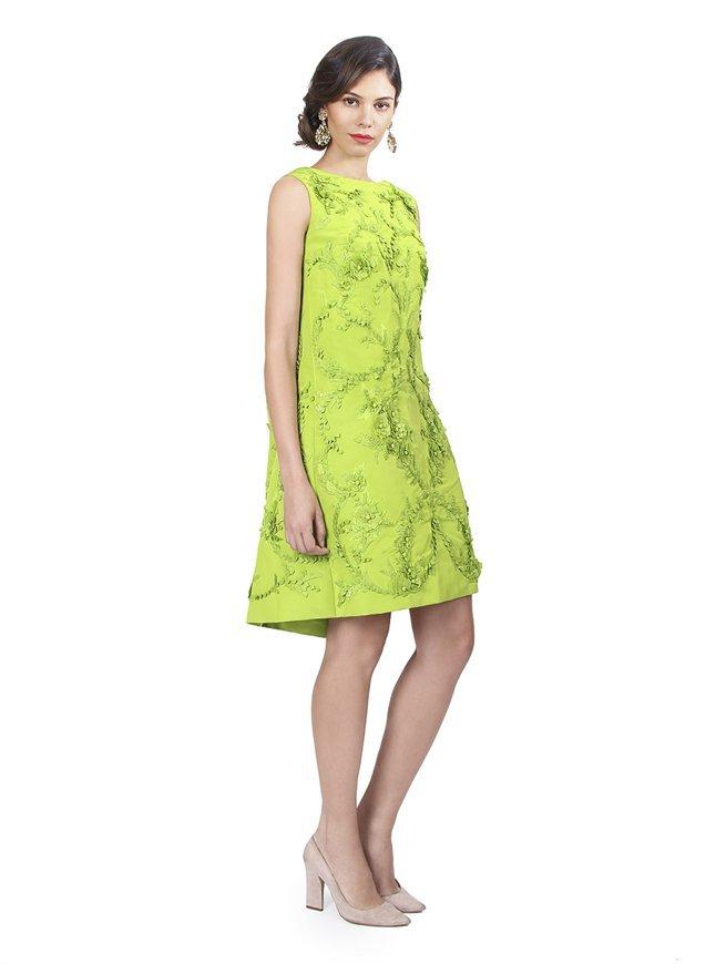 Oscar de la Renta Sleeveless Scoop Back Dress With Embroidery