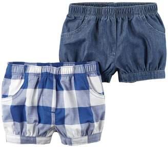 Carter's Baby Girl 2-Pack Checkered & Chambray Shorts