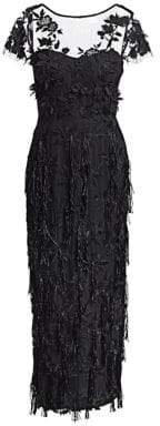 David Meister Short Sleeve Embroidered Tassel Lace Gown