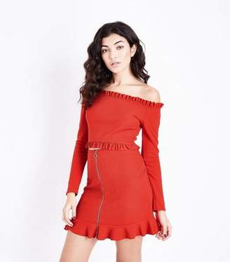 New Look Red Zip Front Frill Hem Party Mini Skirt