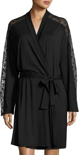 Cosabella Cosabella Ritz Long-Sleeve Robe, Black