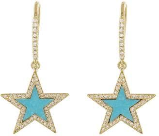 Jennifer Meyer Turquoise Inlay Star Earrings