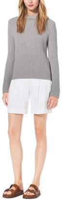 Michael Kors Shaker-Stitch Hooded Cashmere Sweater
