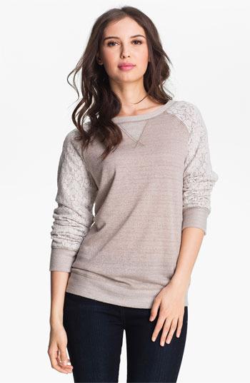 Olivia Moon Lace Sleeve Sweatshirt Taupe/ Ivory Large