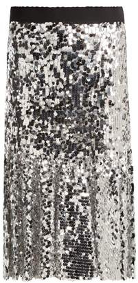 Dolce & Gabbana Paillette Embellished Midi Skirt - Womens - Silver