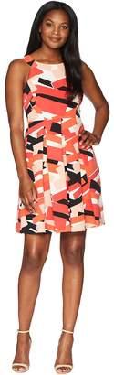 Nine West Sleeveless Fit Flare Dress w/ Pleats Women's Dress