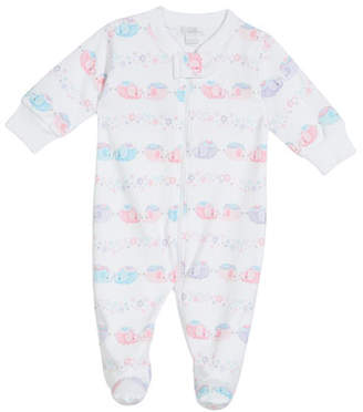 Kissy Kissy Eloquent Elephants Printed Pima Zip-Front Footie Playsuit, Size 0-9 Months