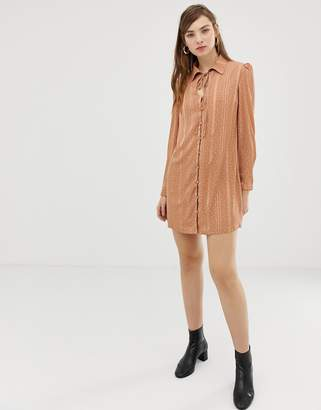 Glamorous shirt dress with ribbon tie in subtle spot