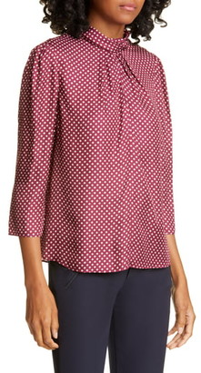 Rebecca Taylor Tailored by Deco Dot Silk Blend Blouse