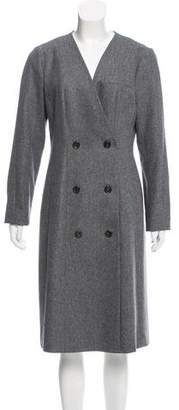 Black Fleece Double-Breasted Long Coat