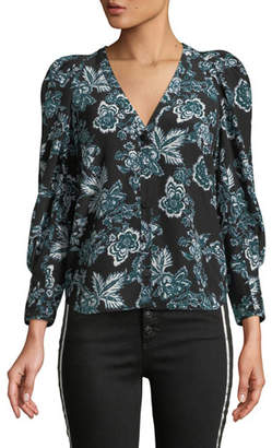 Veronica Beard Isa Floral-Print Button-Front Silk Blouse
