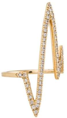 Jennifer Fisher 14K Pavé Diamond Pulse Bar Ring