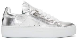 Jil Sander Navy Silver Metallic Ruffle Sneakers
