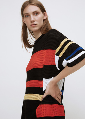 Proenza Schouler black / orange / electric blue oversized short sleeve crewneck sweater $2,350 thestylecure.com