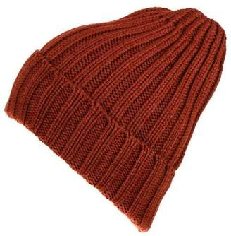 Black Russet Chunky Rib Knit Cashmere Beanie