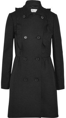 REDValentino - Ruffled Cotton-twill Coat - Black $975 thestylecure.com
