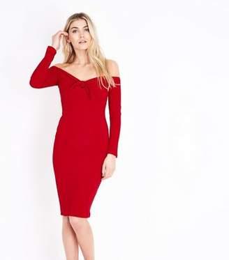 42042f2ef0e8 AX Paris Red Tie Front Bardot Neck Dress