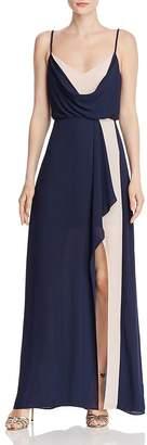 BCBGMAXAZRIA Draped Color-Block Gown