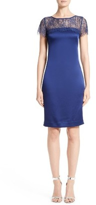 Women's St. John Collection Lace & Satin Crepe Sheath Dress $1,195 thestylecure.com