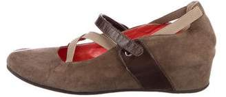 Aquatalia Suede Round-Toe Wedges