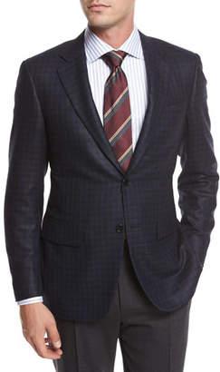 Canali Check Silk-Wool Sport Coat, Blue/Black