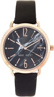 Nine West NW/2180 Black & Rose Gold-Tone Watch