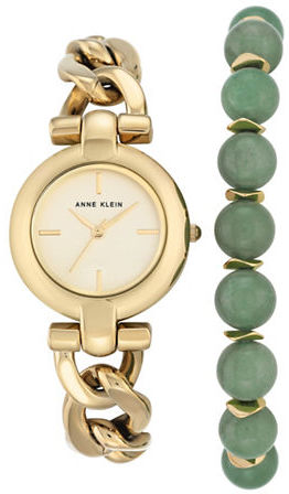 Anne KleinAnne Klein Watch & Jade Bracelet- Set of 2