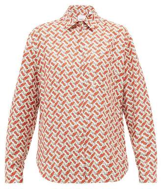 Burberry Tb Print Silk Satin Shirt - Womens - Red Print