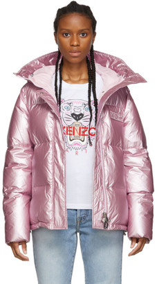 Kenzo Pink Down Hooded Puffer Jacket