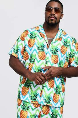 Big & Tall Pineapple Print Revere Collar Shirt