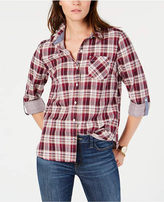 Tommy Hilfiger Plaid Roll-Tab-Sleeve Button-Front Shirt, Created for Macy's