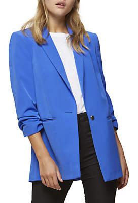 Miss Selfridge Ruched Sleeve Blazer, Bright Blue