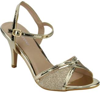 Forever Villa-04 Women's Glitter Metallic Ankle Strap Buckle Wrapped Heel Sandals