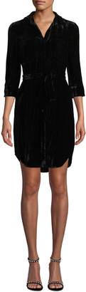 L'Agence Stella 3/4-Sleeve Crinkle Velvet Shirtdress