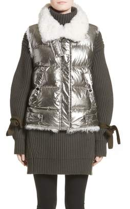 Moncler Kerria Metallic Down Vest with Genuine Shearling Trim