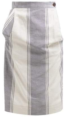 Vivienne Westwood Striped Cotton Blend Pencil Skirt - Womens - Blue Multi