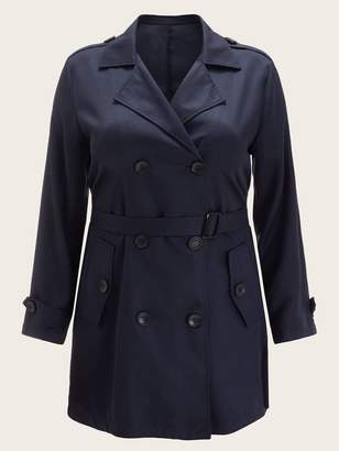 Shein Plus Notched Collar Self Belted Trench Coat