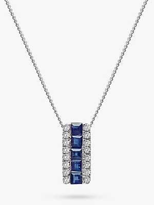 9bbb10685 A B Davis 9ct White Gold Diamond and Sapphire Rectangular Pendant Necklace