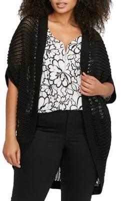 Addition Elle Love And Legend Plus Hooded Three-Quarter Sleeve Crochet Shrug