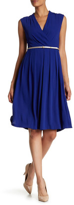Ellen Tracy Belted Woven Fit & Flare Dress $138 thestylecure.com