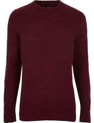 River Island Mens Big and Tall red crew neck sweater