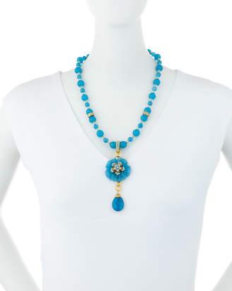 Jose & Maria Barrera Carved Agate Flower Pendant Necklace