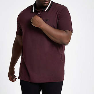 River Island Mens Big and Tall burgundy slim fit polo shirt