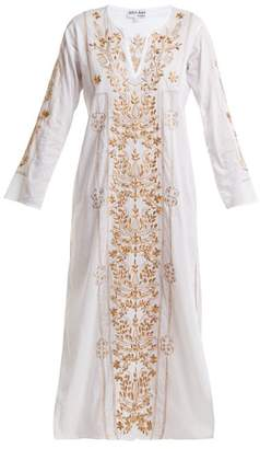 Juliet Dunn Sequin Embellished Embroidered Cotton Kaftan - Womens - White Multi