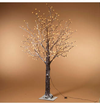 Everlasting Glow 6-Foot, Electric, Brown Wrapped, Snowy Tree with Led Lighting, 8 functions