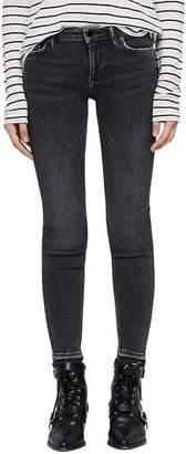 AllSaints Mast Released-Hem Ankle Skinny Jeans in Washed Black